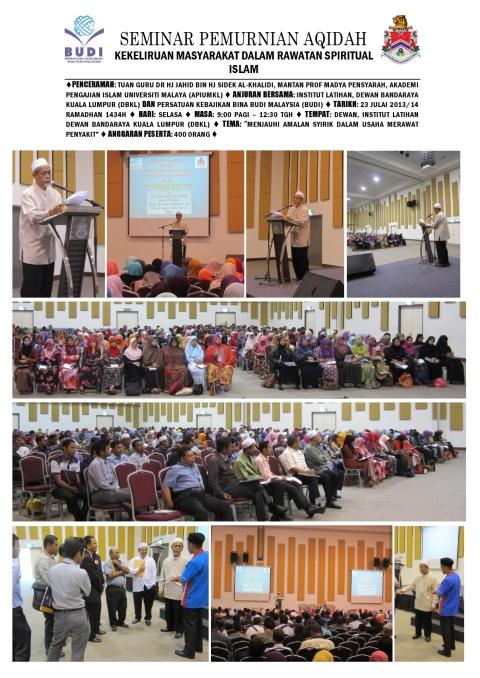 SEBAHAGIAN AKTIVITI DAN PROGRAM PERSATUAN KEBAJIKAN BINA BUDI MALAYSIA (BUDI) 2013